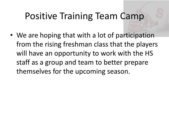 Positive Training Team Camp