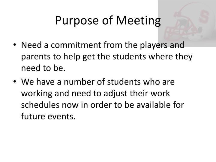 Purpose of meeting1