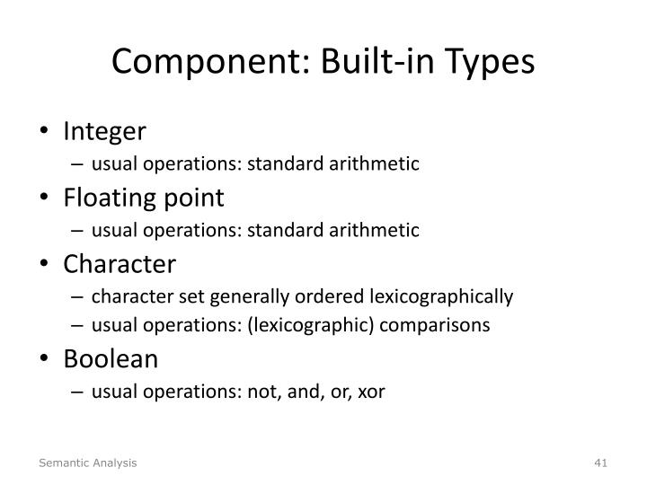 Component: Built-in Types