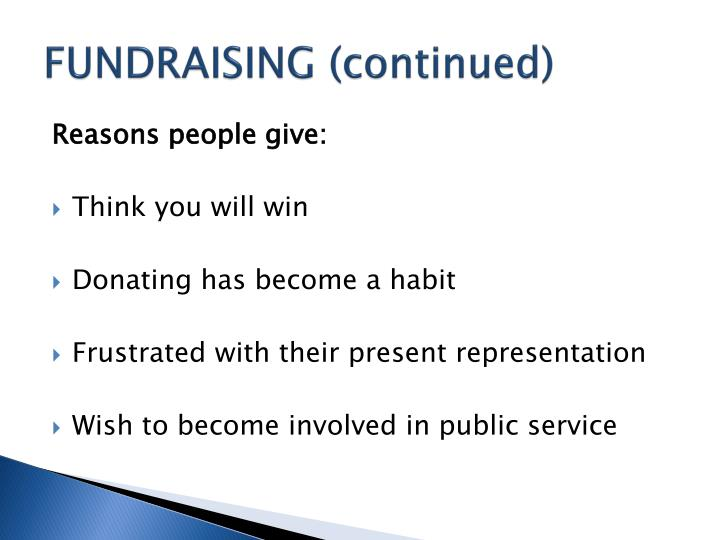 FUNDRAISING (continued)