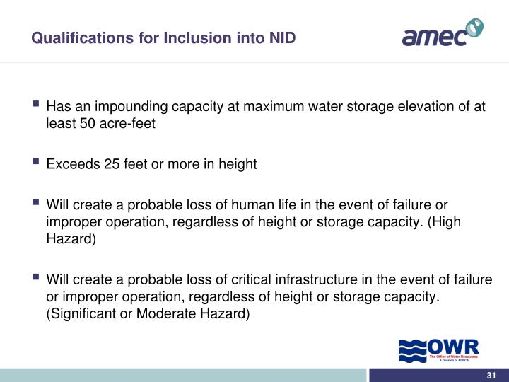 Qualifications for Inclusion into NID