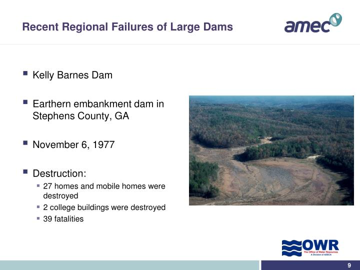 Recent Regional Failures of Large Dams