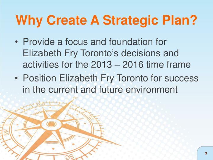 Why create a strategic plan