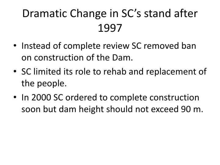 Dramatic Change in SC's stand after 1997