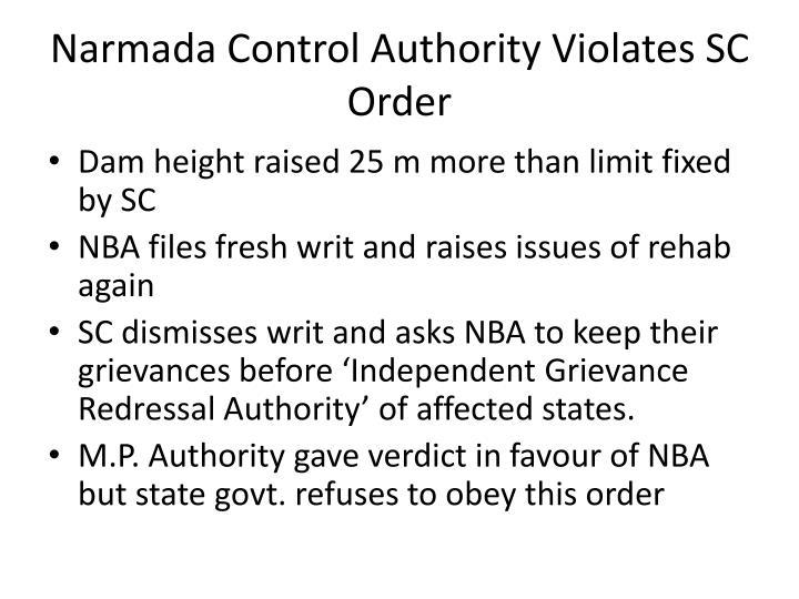 Narmada Control Authority Violates SC Order