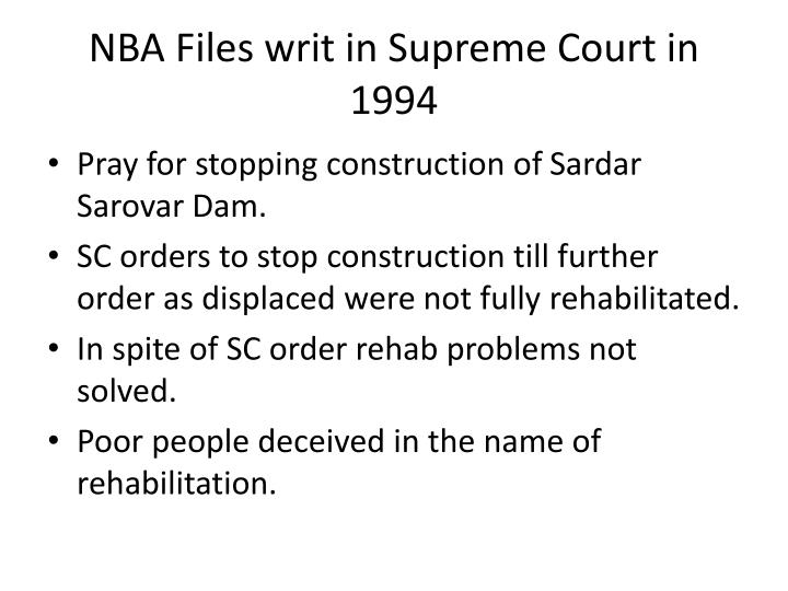 NBA Files writ in Supreme Court in 1994