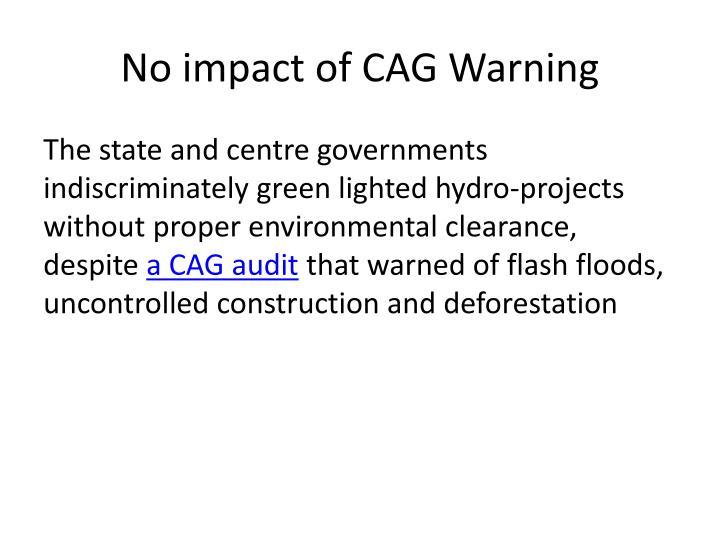 No impact of CAG Warning