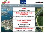 leadership in sustainable road construction