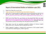 report of international bodies on radiation upto 2011