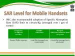 sar level for mobile handsets