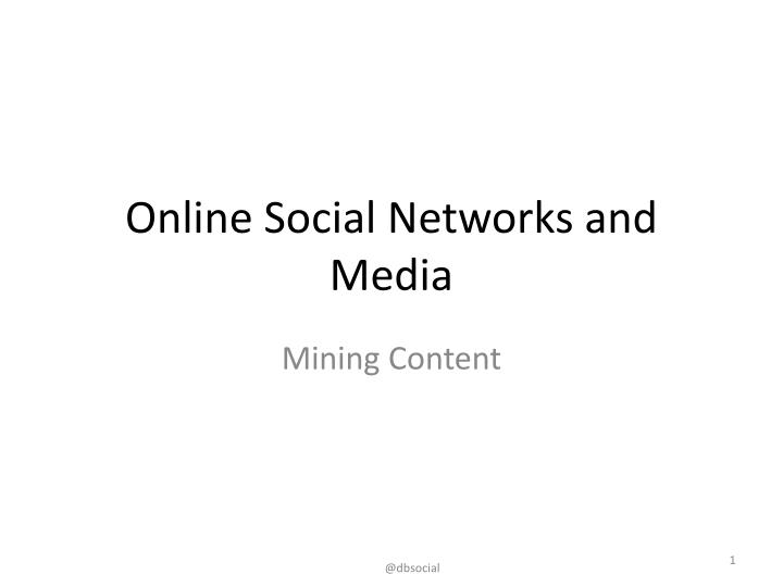 online social networks and media n.