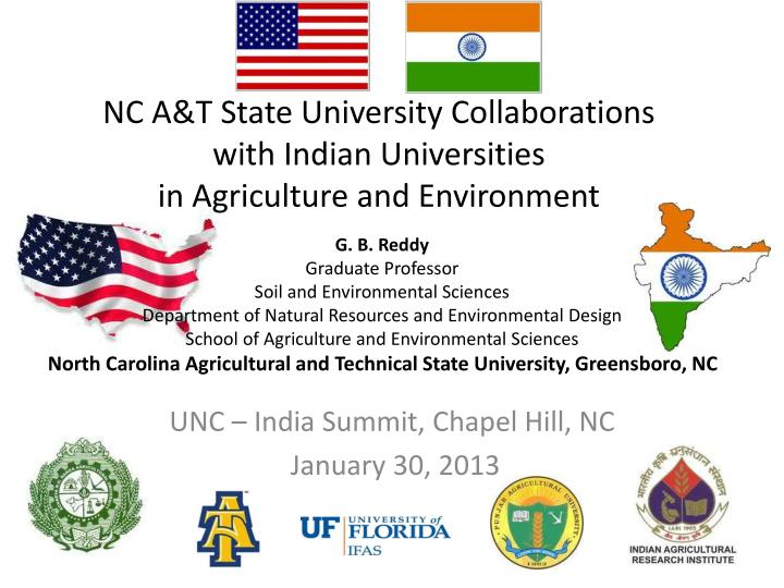 nc a t state university collaborations with indian universities in agriculture and environment n.