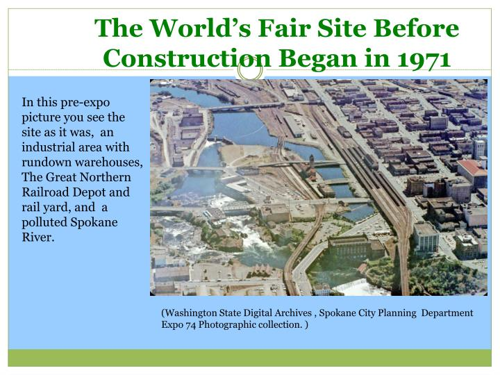 The world s fair site before construction began in 1971