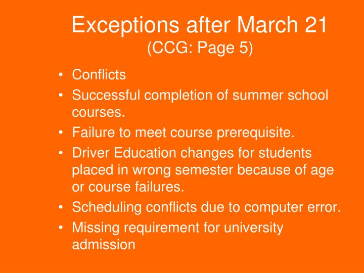 Exceptions after
