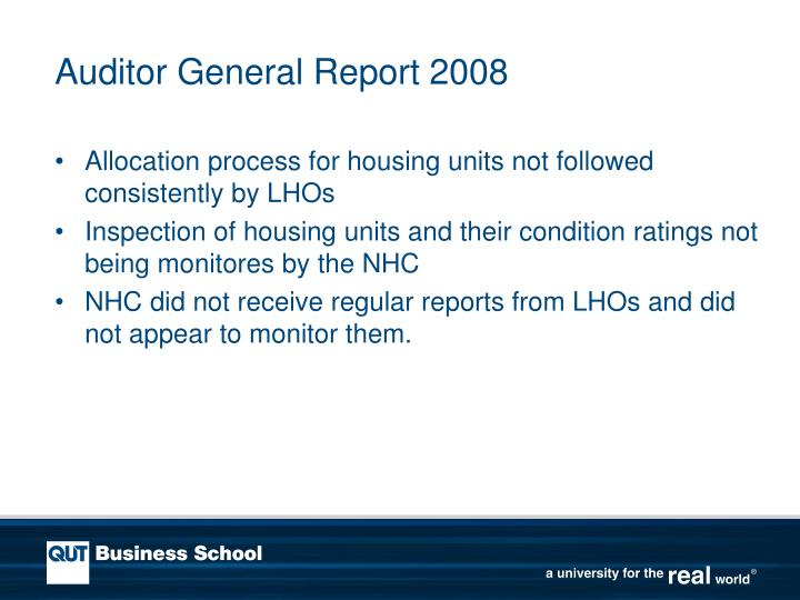 Auditor General Report 2008