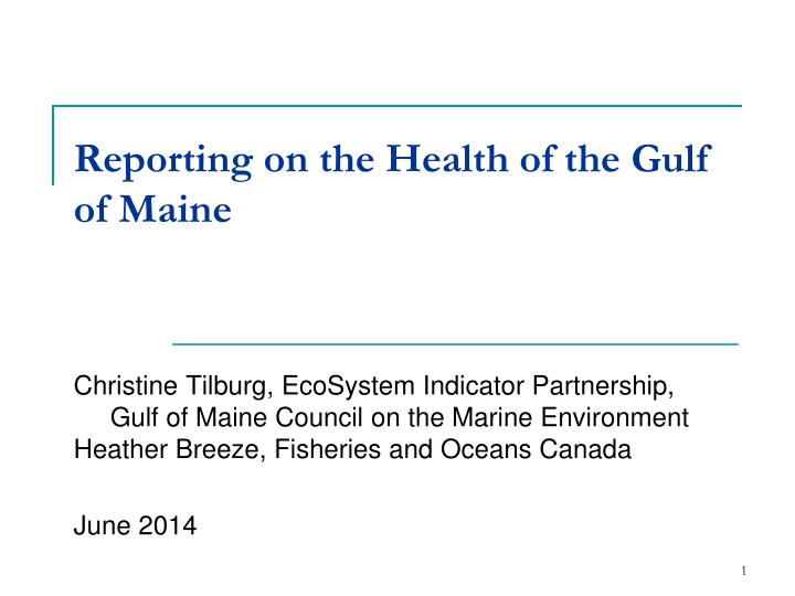 reporting on the health of the gulf of maine n.