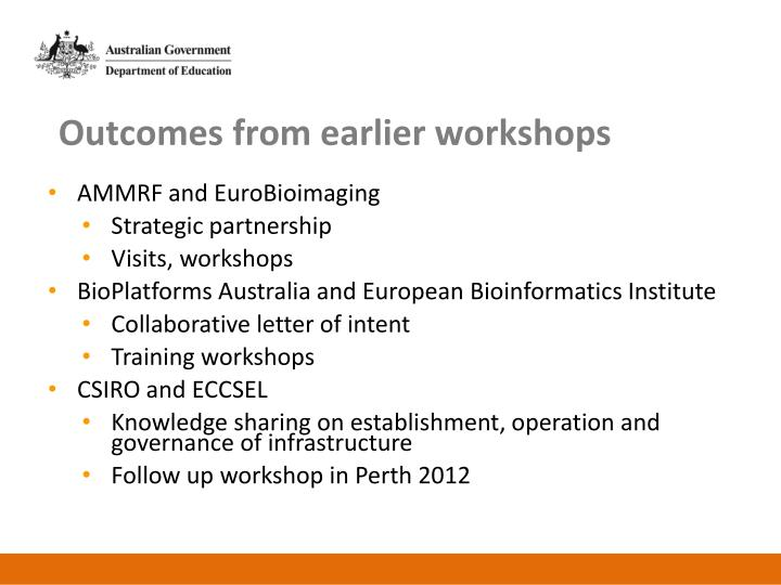 Outcomes from earlier workshops