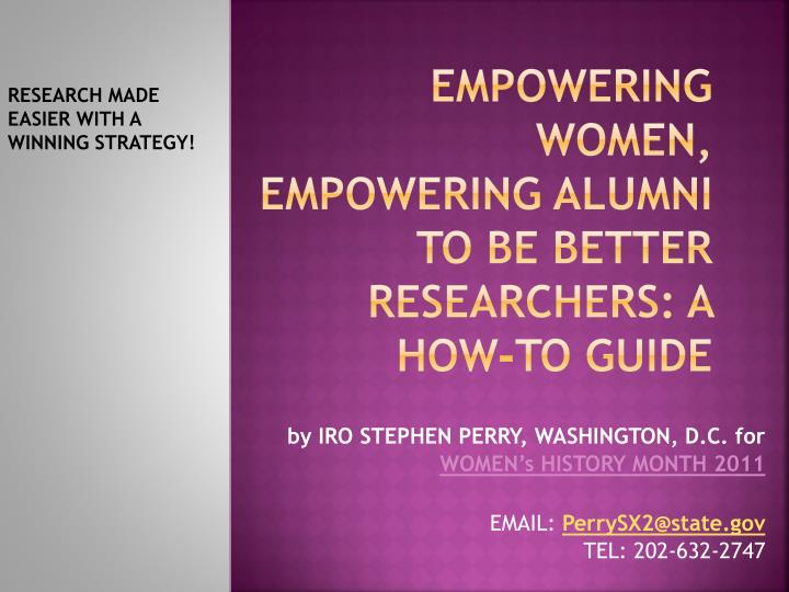 empowering women empowering alumni to be better researchers a how to guide n.