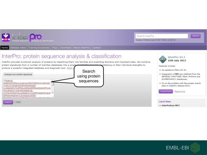 Search using protein sequences