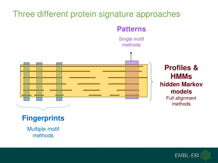 Three different protein signature approaches