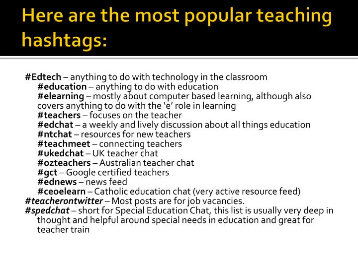 Here are the most popular teaching