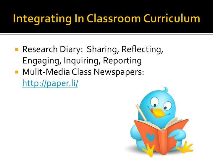Integrating In Classroom Curriculum