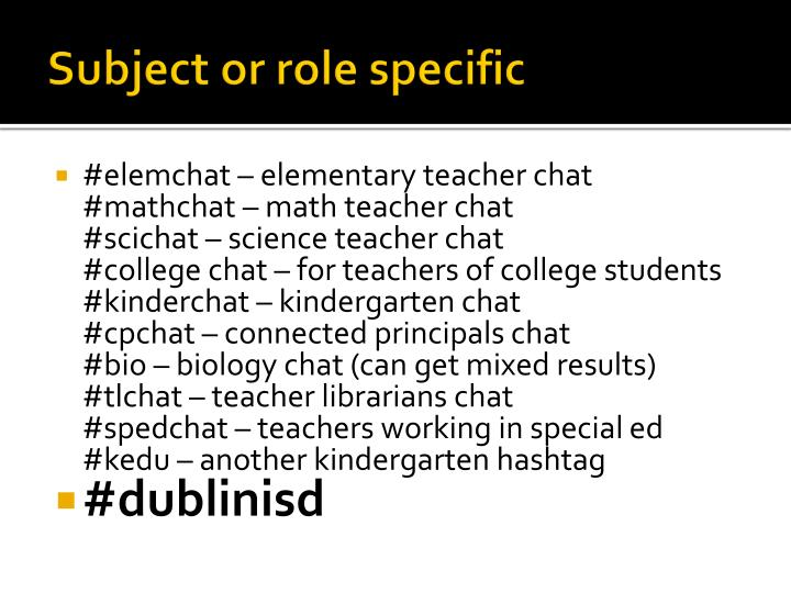 Subject or role specific