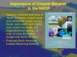 importance of coastal margins in the nacp2