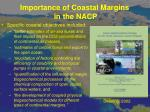importance of coastal margins in the nacp3