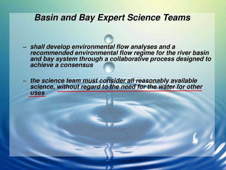 Basin and Bay Expert Science