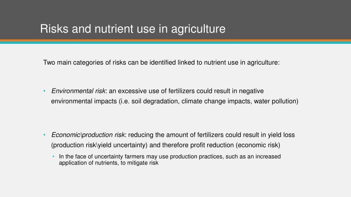 Risks and nutrient use in agriculture