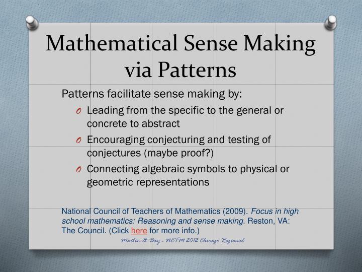 Mathematical sense making via patterns