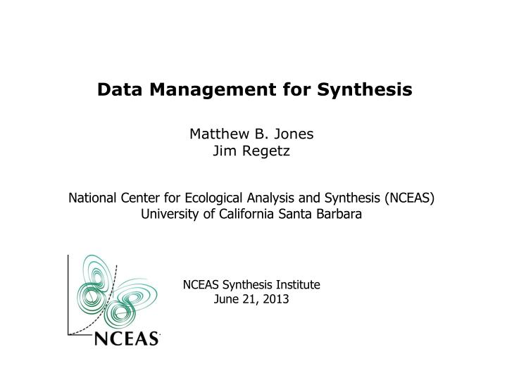 data management for synthesis n.