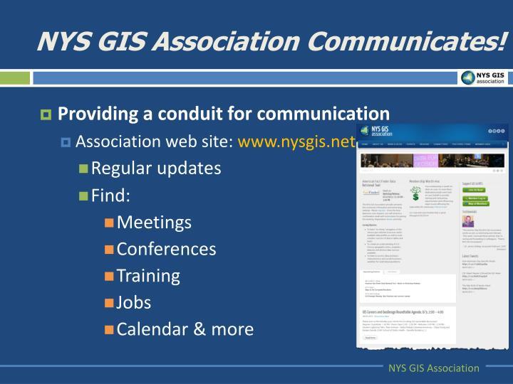 NYS GIS Association Communicates!