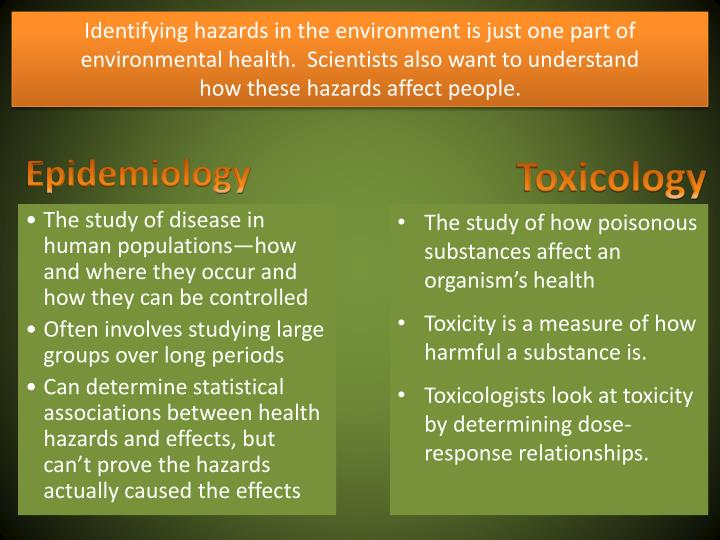 Identifying hazards in the environment is just one part of environmental health.  Scientists also wa...