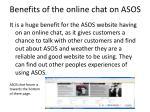 benefits of the online chat on asos