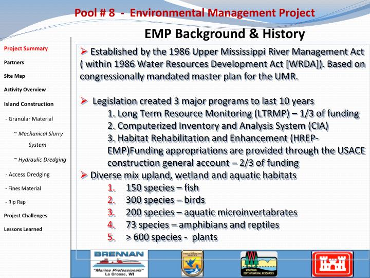 Pool 8 environmental management project