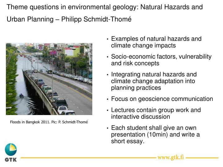 theme questions in environmental geology natural hazards and urban planning philipp schmidt thom n.