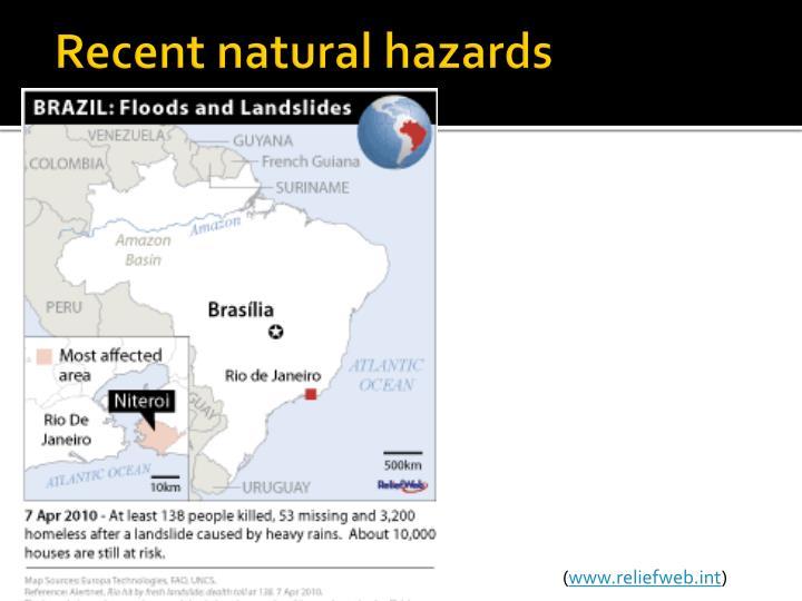 Recent natural hazards
