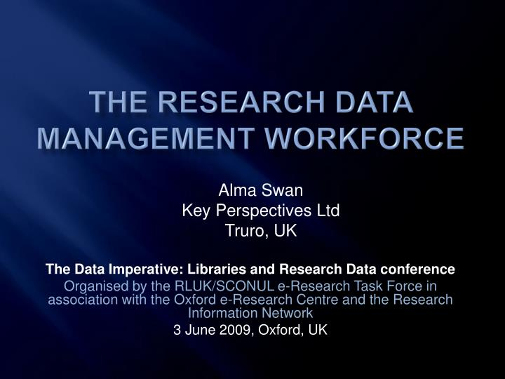 the research data management workforce n.