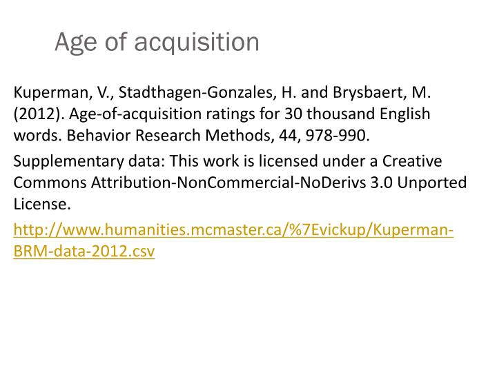 Age of acquisition