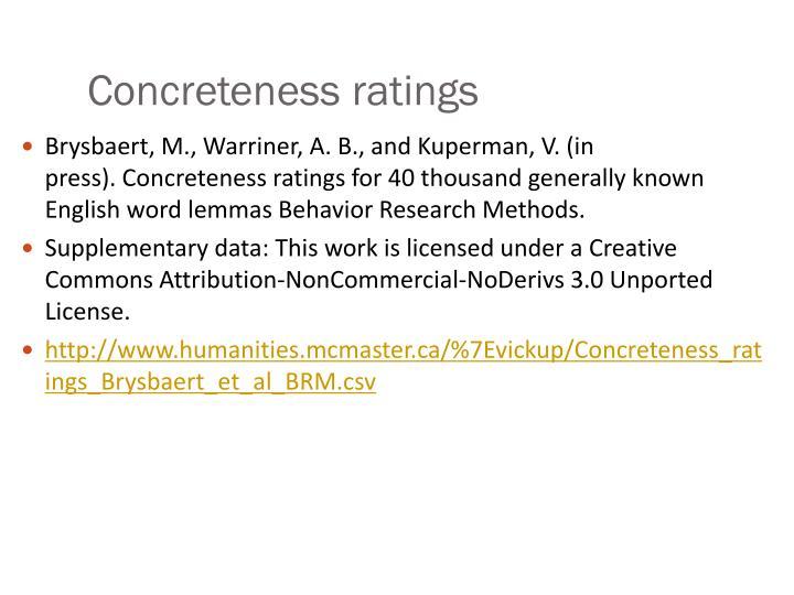 Concreteness ratings