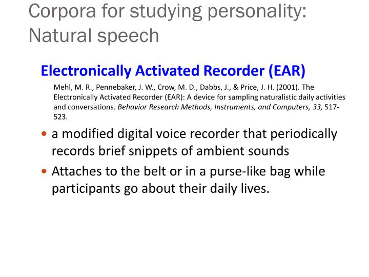 Corpora for studying personality: