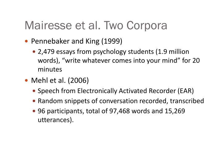 Mairesse et al. Two Corpora