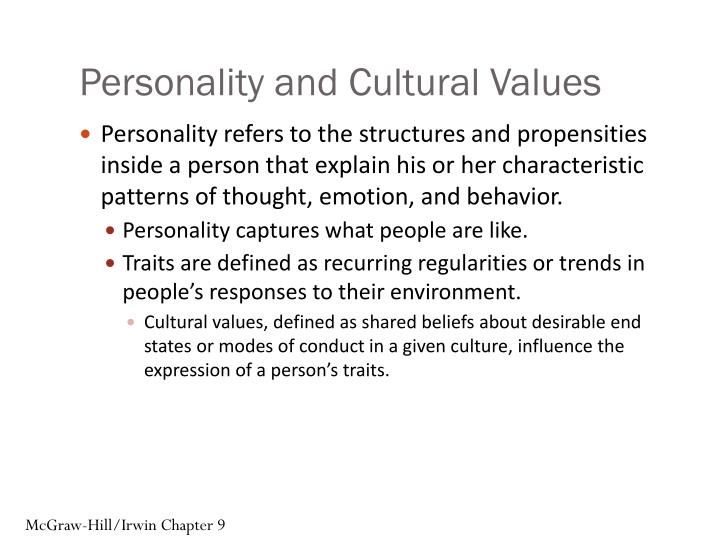 Personality and cultural values