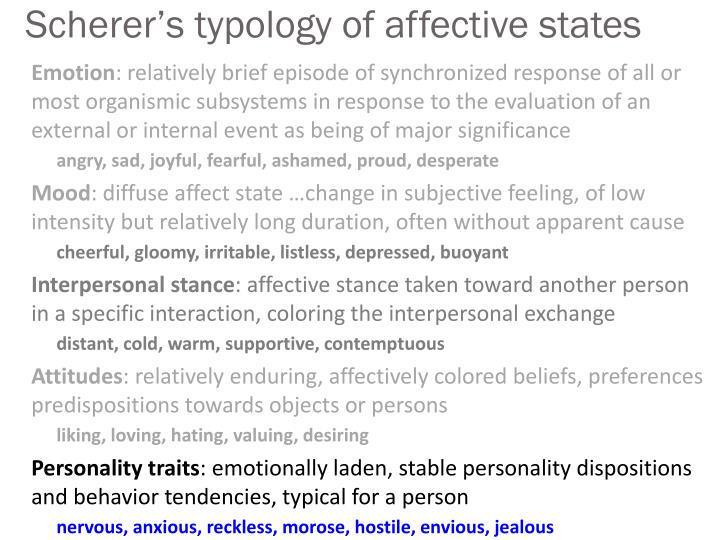 Scherer s typology of affective states