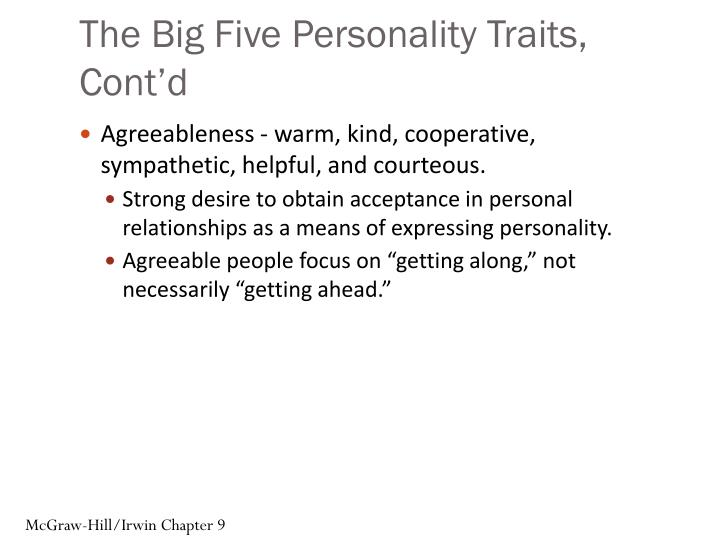 The Big Five Personality Traits, Cont'd