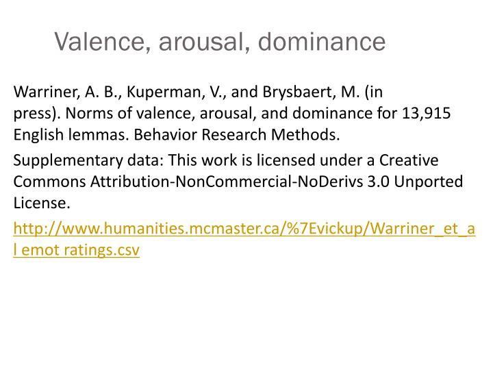 Valence, arousal, dominance