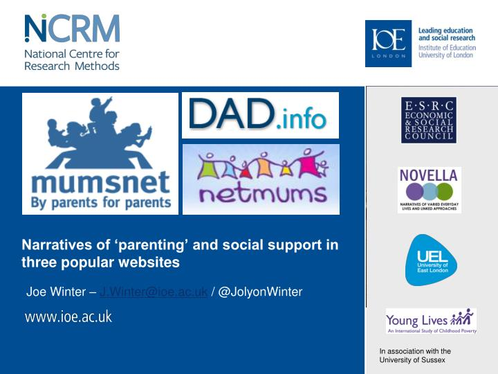Narratives of parenting and social support in three popular websites