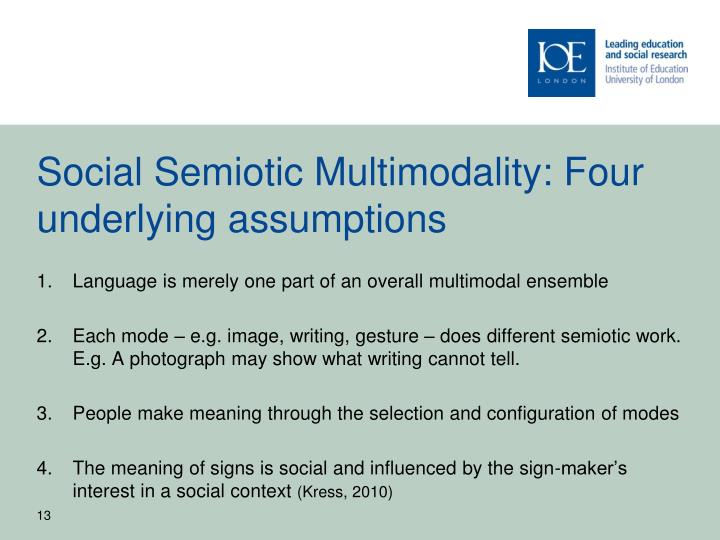 Social Semiotic Multimodality: Four underlying assumptions